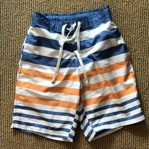 Striped bathing suit:yellow/orange,blue and white
